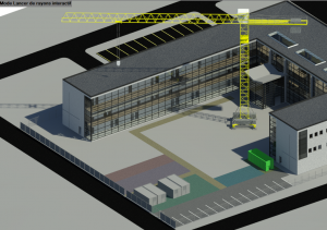 Vue en 3D réalisée avec méthode+ module PIC Revit (Plan d'installation de chantier)