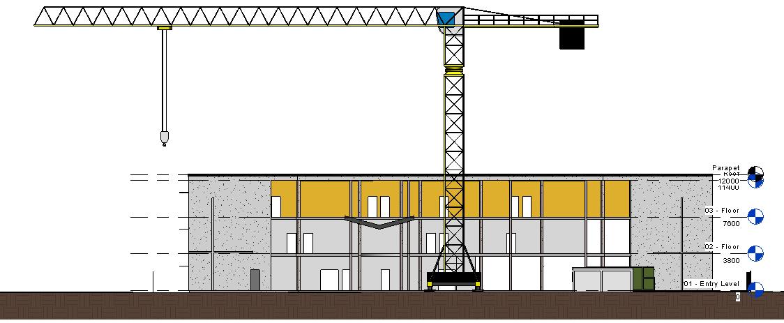 Élévation réalisée avec méthode+ module PIC Revit (Plan d'installation de chantier)