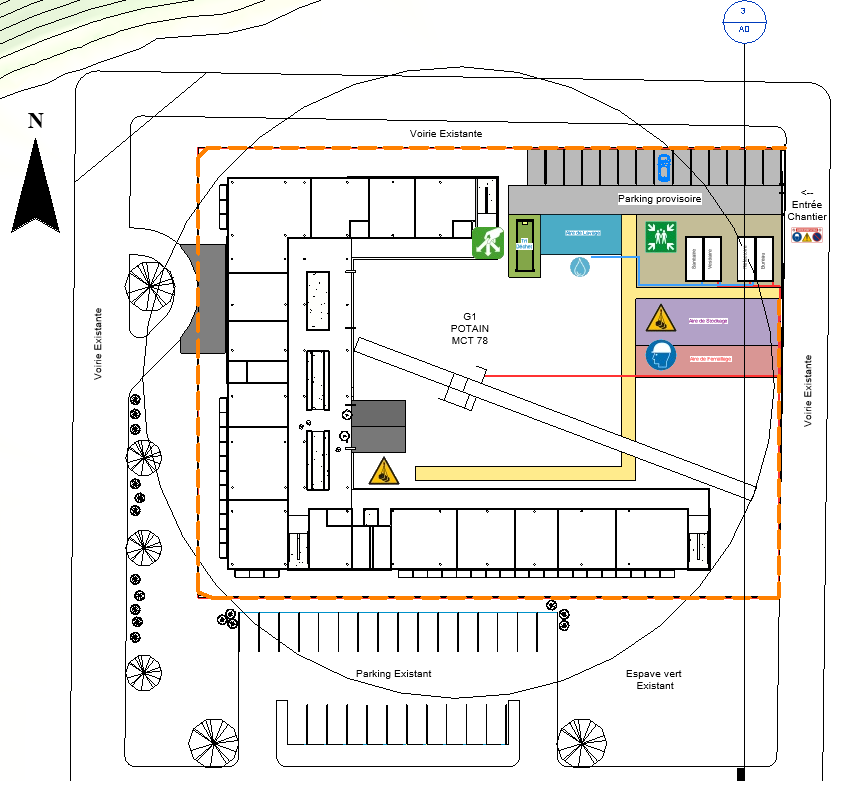 Vue en plan réalisée réalisée avec méthode+ module PIC Revit (Plan d'installation de chantier)