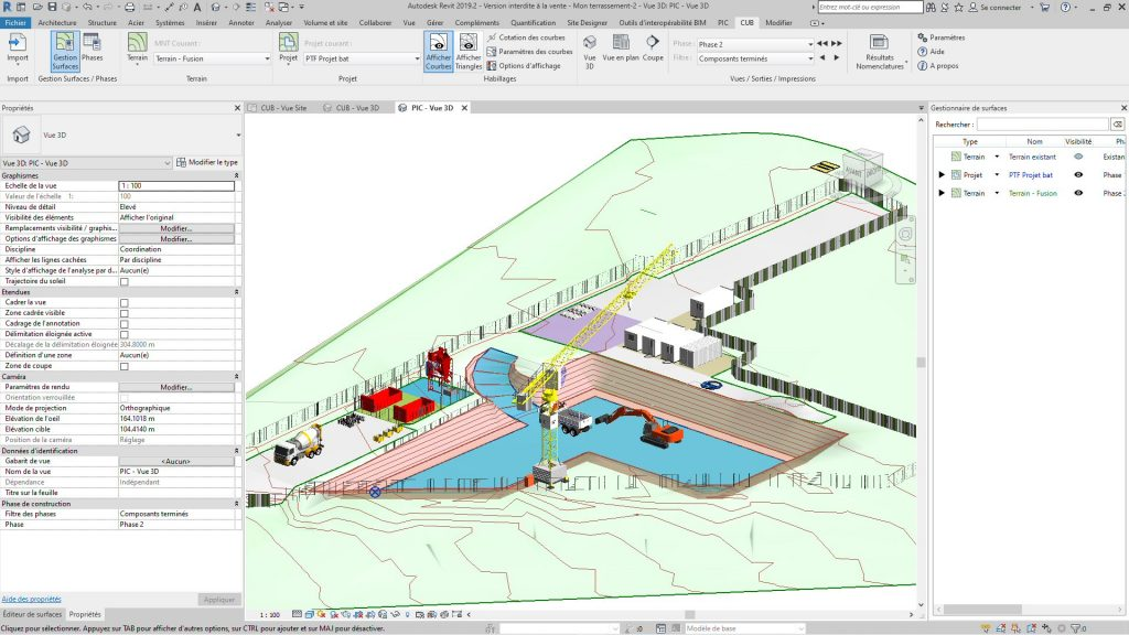 Vue en 3D des terrassement et du plan d'installation de chantier