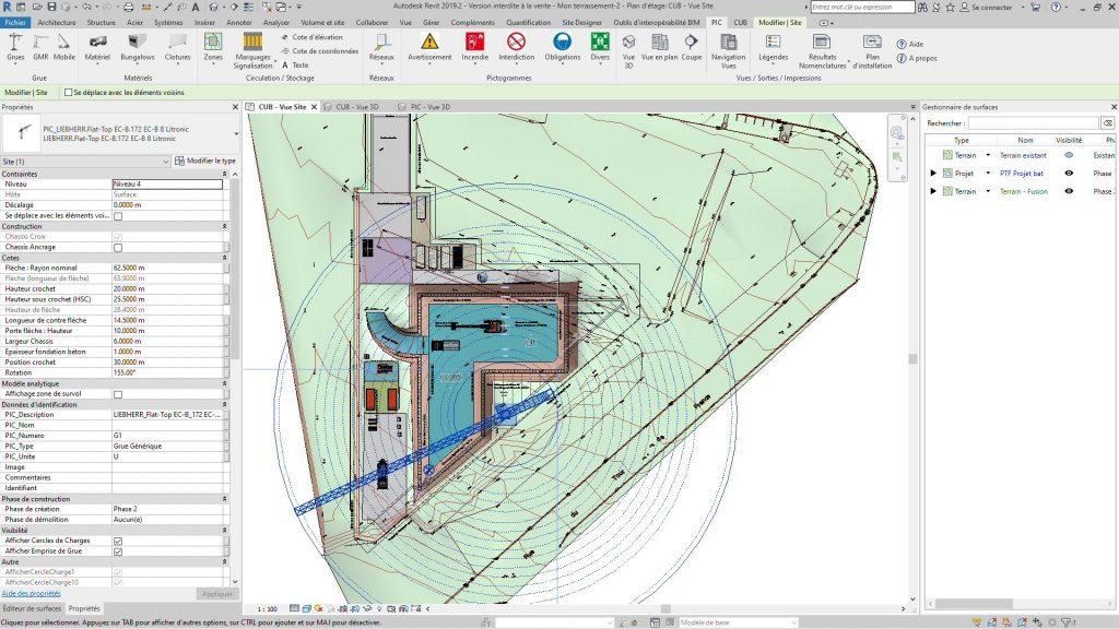 Vue en plan des terrassement et du plan d'installation de chantier