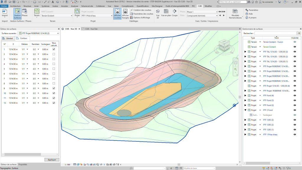 Vue 3D des terrassements Bassin de la Station de Transfert d'Énergie par Pompage (Terrassement Revit)