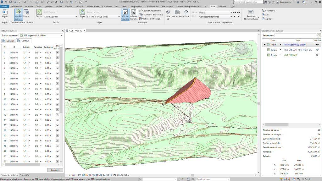 Vue 3D des terrassements d'une digue (Terrassement Revit)