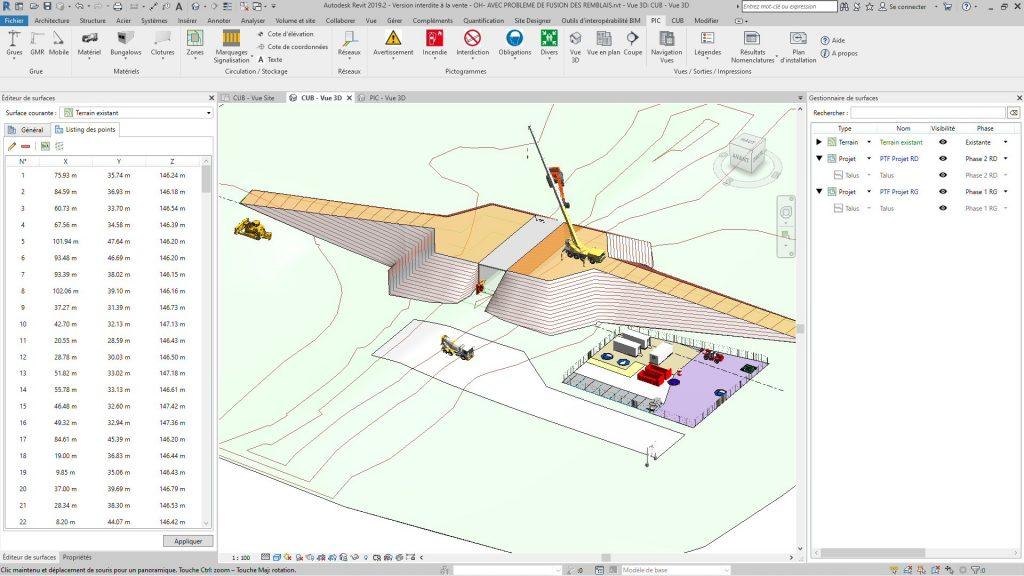 Vue 3D des terrassements d'un OH (Terrassement Revit)