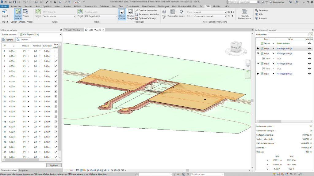 Vue 3D des terrassements de la prise d'eau usine de dessalement (Terrassement Revit)